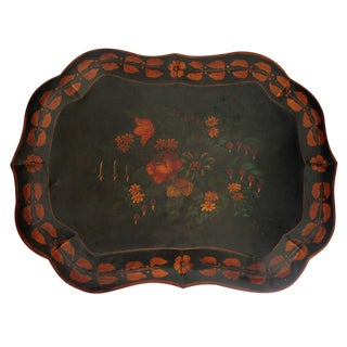 Large 19th Century Original Paint Decorated Tin Tray For Sale