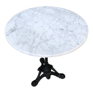 Victorian White Marble Top Cast Iron Pedestal Base Bistro Table For Sale
