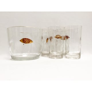 Mid Century Gold Fish Ice Bucket Tumblers - Set of 4 Preview