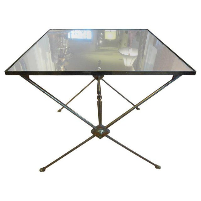 Gold 1940's French Neoclassical Style Brass Side Table For Sale - Image 8 of 8