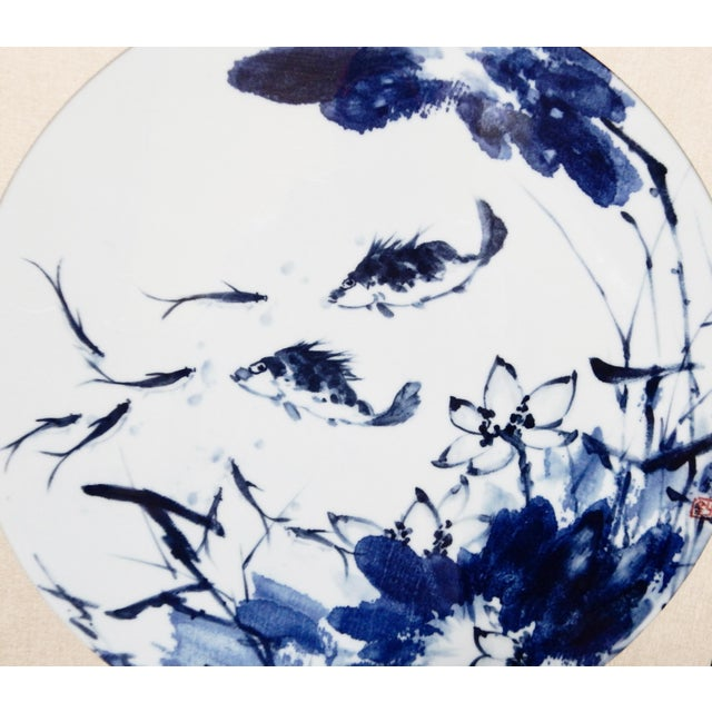 Blue & White Porcelain Fish Panels - A Pair - Image 3 of 6