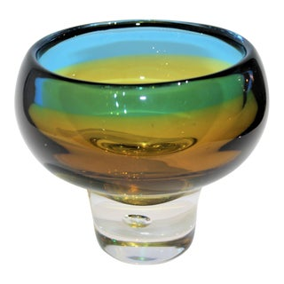 Vicke Lindstrand Mid-Century Kosta Ombre Vase Signed, With Clear Bubble Base For Sale