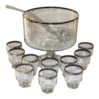 Dorothy Thorpe Style Silver Rim Footed Punch Bowl With Glass Ladle and 10 Glasses