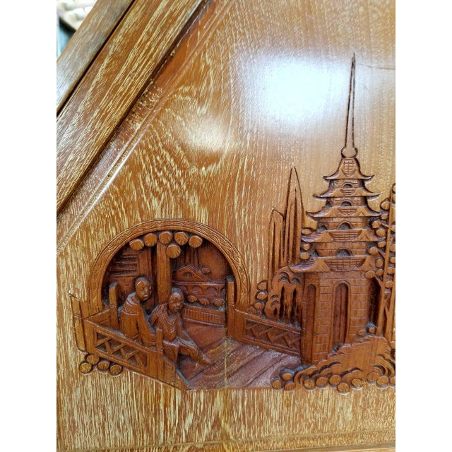 Hand Carved Asian Drop-Front Desk For Sale In San Francisco - Image 6 of 10