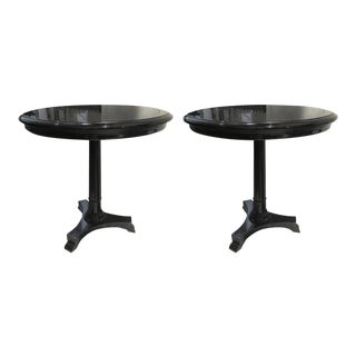 Maison Jansen Pair of Blackened Wood Round Side Tables For Sale