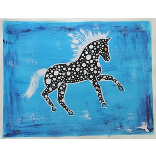 Abstract Horse Chinoiserie Painting by Cleo Plowden For Sale