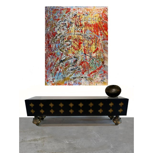 Metal Moroccan Low Console Table With Moorish Cut Outs and Brass Accents For Sale - Image 7 of 8