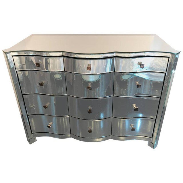 Serpentine Front Mirrored Chest of Drawers For Sale In Philadelphia - Image 6 of 6