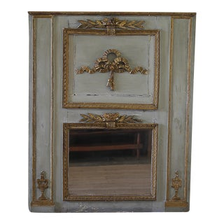 Early 19th Century Original Painted & Gilt Carved Trumeau Mirror