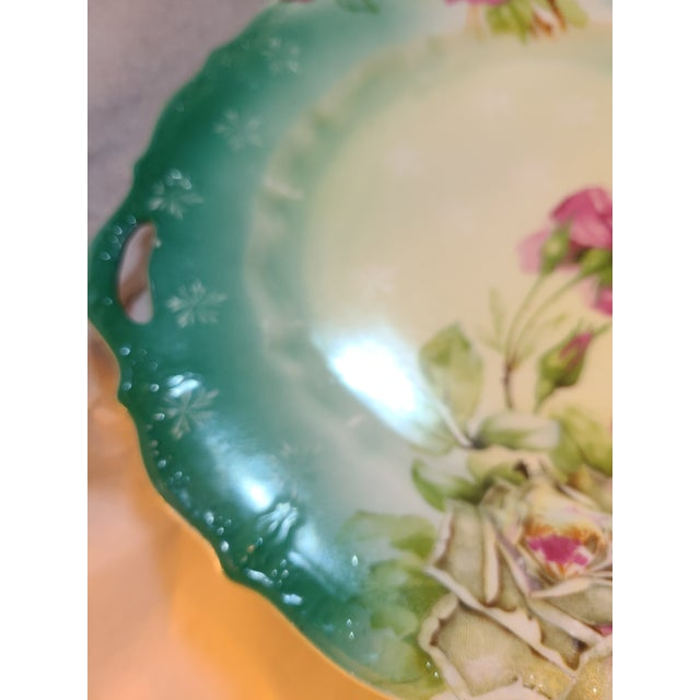 1920s Antique Prussian Rose Pattern Handled Cake Plate For Sale - Image 5 of 11