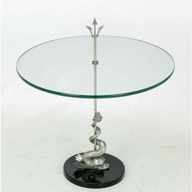 Nickel Dolphin & Trident Gueridon with Black Marble Base For Sale - Image 4 of 7