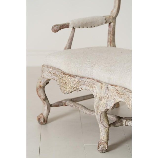 18th Century 18th Century Swedish Rococo Period Settee or Bench in Original Paint For Sale - Image 5 of 12