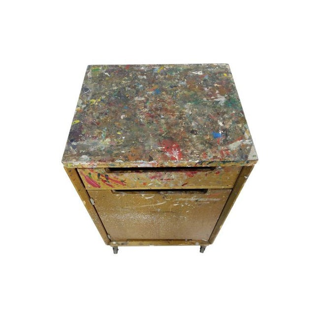 Wood Paint Splattered Cabinet From an Artist Studio For Sale - Image 7 of 10