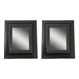 Pair of Dutch Ebonized Cushion Frame Mirrors For Sale
