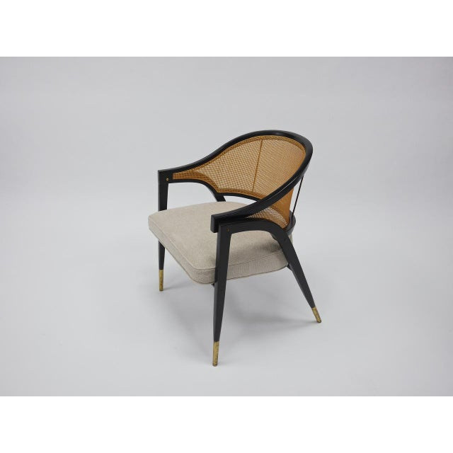 Elegant armchairs # 5480 by Edward Wormley for Dunbar Furniture co. Berne Indiana Model 5480. Excellent restored...