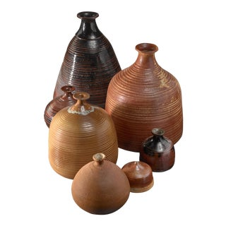 Set of Seven Franco Agnese Ceramic Vases For Sale