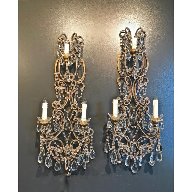 Gold Pair Italian Beaded Sconces C. 1950s For Sale - Image 8 of 8