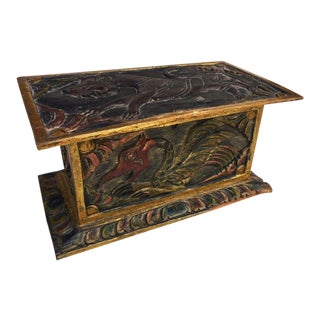 Vintage Balinese Alter Wood Carved Offering Box For Sale