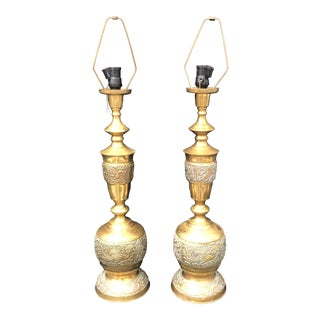 Chinese Style Mid Century Brass Lamps - a Pair