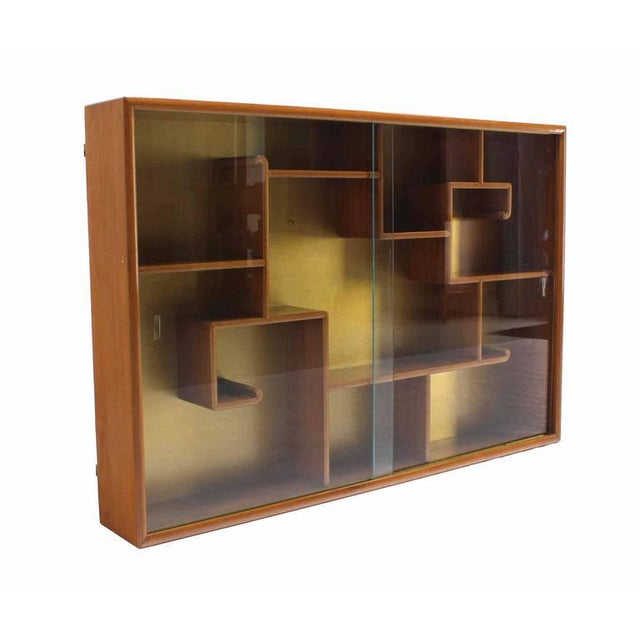 Asian Oriental Asian inspired Hanging Bookcase Shelf w/ Glass Doors Solid Teak For Sale - Image 3 of 6