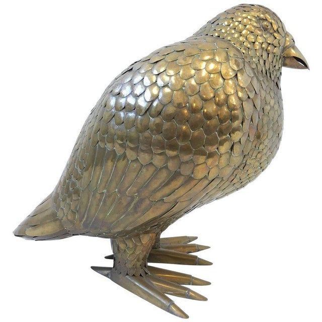 Gold Large Brass Bird Sculpture by Sergio Bustamante For Sale - Image 8 of 8