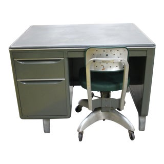 1950's Industrial Goodform Steel Desk and Chair - 2 Pieces For Sale