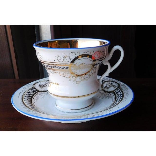 Black Antique German Victorian Porcelain Dem Hausherrn Decorated Cup & Saucer C1900 For Sale - Image 8 of 9