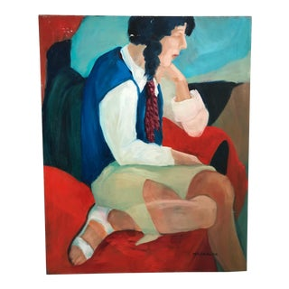 Late 20th Century Molly Brubaker Seated Woman Portrait Painting For Sale