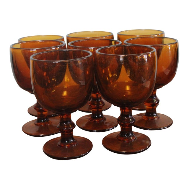 Vintage Amber Chalices - Set of 8 For Sale