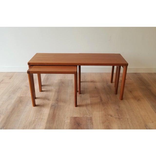 Vejle Stole & Møbelfabrik Vejle Stole & Møbelfabrik Teak Coffee Table With Nesting Side Tables - 3 Pieces For Sale - Image 4 of 13