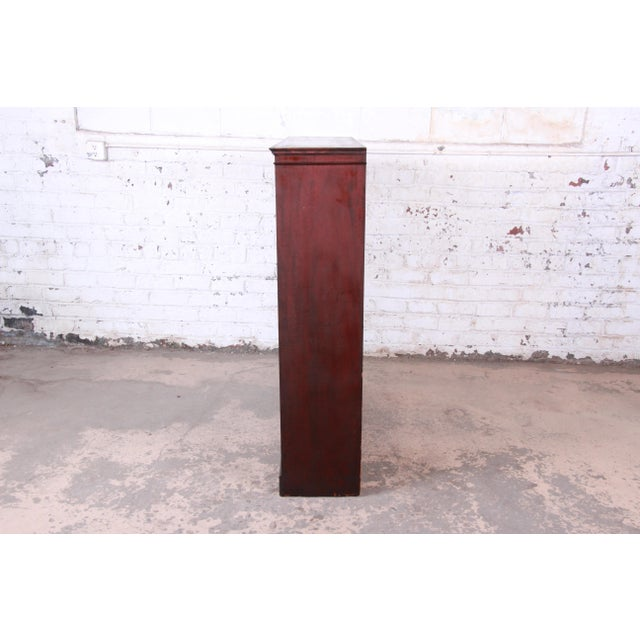 Brown Antique Mahogany Glass Front Double Bookcase, Circa 1900 For Sale - Image 8 of 12