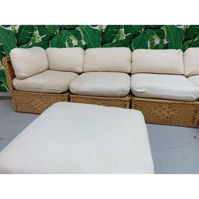 Wicker Seven Piece Wicker Sectional Sofa in the Manner of Michael Taylor For Sale - Image 7 of 9