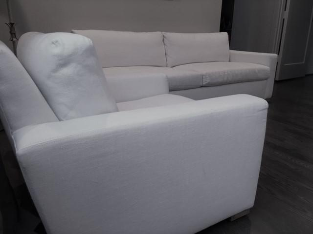 White Belgian Linen Down Filled Maxwell Chair   Image 2 Of 3