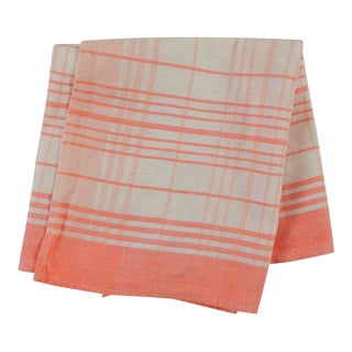 Vintage Peach Check Cotton Hand Towel For Sale