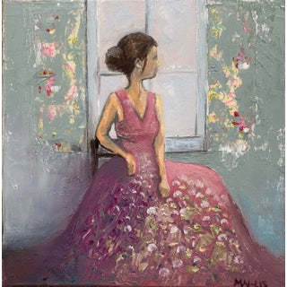 """Original """"Woman in a Floral Dress"""" Oil Painting For Sale"""