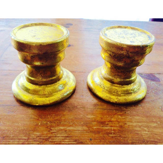 Gold Leaf Ceramic Candle Holders -Pair - Image 4 of 7