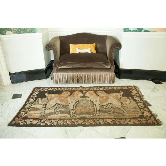 Traditional Russian Brown Kilim with Dogs For Sale - Image 3 of 6