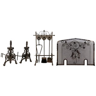 French Art Deco Hand-Forged Wrought Iron Andiron Fireplace Tool Set and Screen For Sale