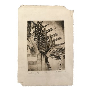 1950s Industrial Arch Construction Etching Print For Sale