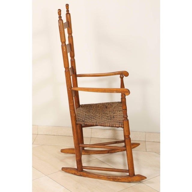 Early 20th Century Early 20th Century Ladder High Back Rocking Chair For Sale - Image 5 of 7