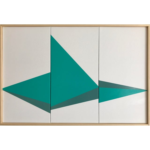 "Original Acrylic Painting ""Aqua on Point Triptych Jet0525"" - Image 5 of 5"