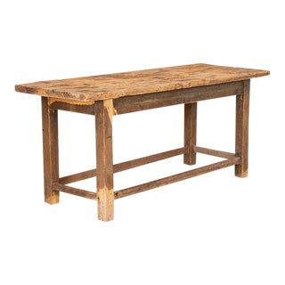 Antique Rough Hewn Work Table/Console Table For Sale