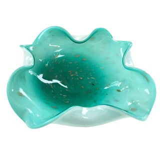 Vintage Turquoise Murano Glass Bowl w/ Aventurine Flecks & Controlled Bubbles For Sale