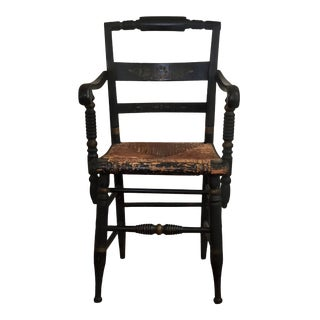 1940s Antique Original Hitchcock Rush Bottom Turtle Back Arm Chair For Sale