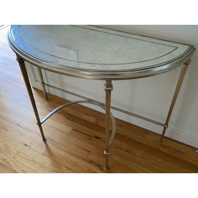 Lillian August Lillian August Wrought Iron and Glass Demilune Console Table For Sale - Image 4 of 8