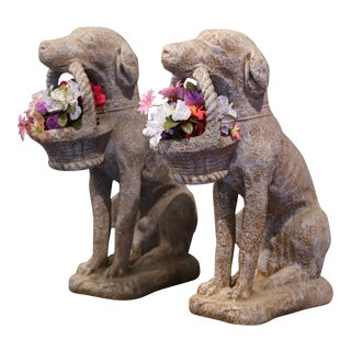 Vintage French Concrete Weathered Patinated Puppy Labrador Sculptures - a Pair For Sale