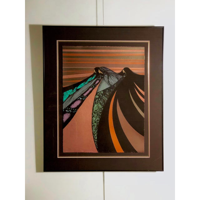 """Metal """"Tres Hermanas"""" Framed Chromolithograph by Amado Maurillo Pena For Sale - Image 7 of 7"""