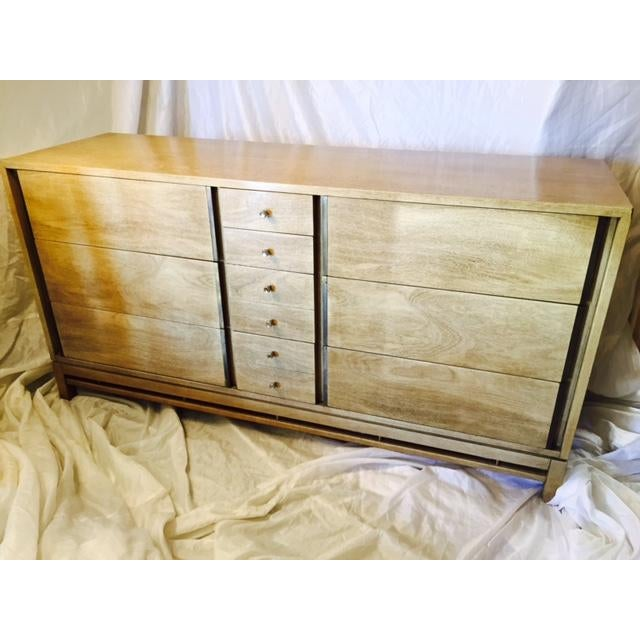 True Mid Century Modern, vintage American Of Martinsville dresser. American of Martinsville ten drawer long chest in...