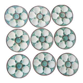 Set 9. Longchamps Majolica Oyster Plates For Sale