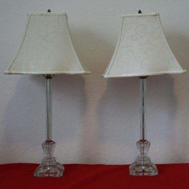 Vintage Cut Glass Candlestick Boudoir Lamps - A Pair - Image 2 of 11
